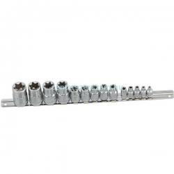 belső torx dugókulcs készlet 1-4,  1-2 colos, e-star dugó, E, Autószerelő célszerszámok, Genius Tools, Centerszerszám