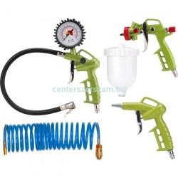 levegős festékszóró kerékfúvató lefúvató pisztoly kompresszor tartozék szett készlet spiráltömlő Extol-Craft Centerszerszám